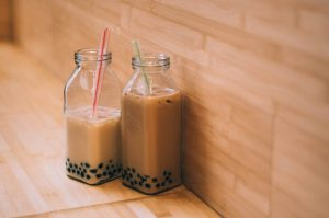 Bubble tea in jars with straws